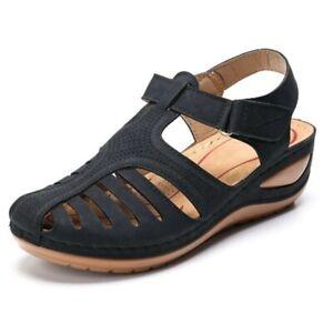 Sandalias De Cuero Moda Para Mujer Zapatos Planas Casual Playa Gladiador Verano