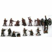 WWII TOY SOLDIERS 12 Painted Plastic Russian Infantry with Cannon 1/32 FREE SHIP