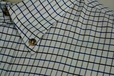 ORVIS Shirt Button Down Collar Gray Blue Tattersall On White Oxford Large