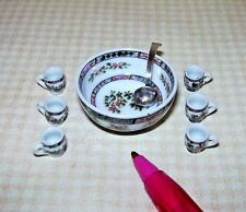Miniature Ornate Bespaq Punch Bowl Set w/Silver Ladle: DOLLHOUSE 1/12
