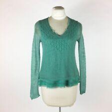Anthropologie Knitted & Knotted Green Sweater S Chiffon Ruffle Trim Wool Alpaca