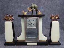 French Art Deco pendulum clock with bronze birds and cassolettes 1930s
