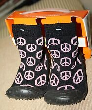 SALE:cool&comfy black  w/ PINK PEACE DESIGNS sock shoes,soft rubber soles(11cm)