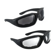 2 Pairs Motorcycle Padded Foam Driving Glasses Sunglasses Clear & Smoke lenses