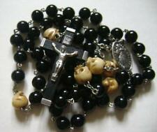 RARE Oxen Bone Skull Black Natural Agate Beads ROSARY CRUCIFIX CATHOLIC NECKLACE