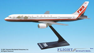 Flight Miniatures TWA Trans World Airlines 1995 Boeing 757-200 1:200 Scale New