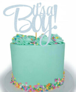 It's a Boy! Glitter Cake Topper Baby Shower Gold Silver Blue Rose Gold Boy Cute