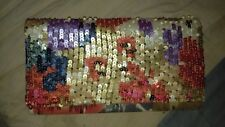 ZARA Beaded Red, Beige, Blue, Purple & Gold Clutch Wallet Bag