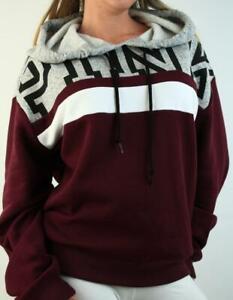 Victoria's Secret PINK Hoodie Sweatshirt Fleece Logo Striped Boyfriend NWT