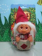"1985 Christmas Peasant Girl - 3"" Dam Troll Doll - New On Card - Last Ones"