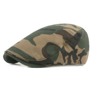 Men Camouflage Beret Newsboy Hat Summer Casual Sun Driving Golf Adjustable Flat