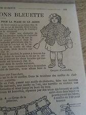 """PATRON ORIGINAL POUR LA POUPEE BLEUETTE """" VESTE CAPELINE AU CROCHET  MAI 1916"""