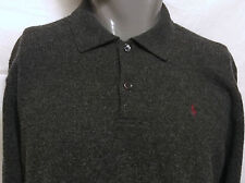 Ralph Lauren Polo Gray Lambswool Polo Sweater Size Large Long Sleeve Rugby Pony