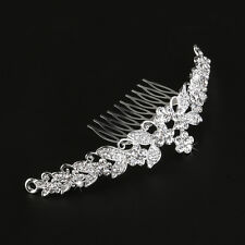 Princess Wedding Bridal Tiara Rhinestone Flower Hair Comb Clip Headband Silver