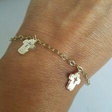 3 tone 14k white rose Yellow Gold Cross chain Bracelet 7 inches long