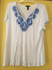 NEW INC Woman White Tunic, Blue Embroidery, Stones at Neck, Size 2X plus, NWT