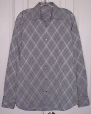 Bugatchi Uomo Men'S Dress Shirt Classic Fit Silvery Gray Size Medium
