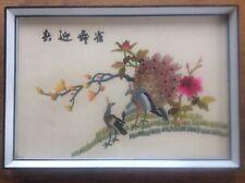 Signé brodé chinois asiatique encadrée soie broderie oiseaux paons en arbre 2