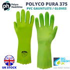 POLYCO PURA 375 PVC GREEN FLOCK LINED GLOVES / GAUNTLETS SIZE 8 MEDIUM PPE
