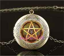 Vintage Celtic Golden Pentacle Cabochon Glass Brass Locket Pendant Necklace