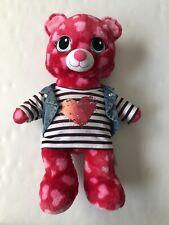 Build A Bear Dark Pink Hot Pink Hearts Plush Jean Vest Heart Shirt Top