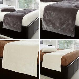 Velvet Bed Runner Plain Modern Velour Grey Cream Bedding Throw 198cm x 48cm