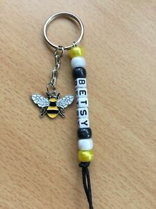 Handmade Personalised Name Enamel Bumble Bee Themed Keyring Bag Charm