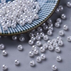150+ 5mm Acrylic Faux Pearl Round Beads UK