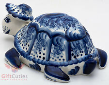 Porcelain Gzhel Tortoise Turtle Figurine Souvenir handmade hand painted Russian