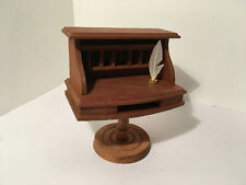 Vintage Dollhouse Miniatures Wooden Shackman Pedestal Desk w/ Quill #31