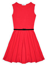 Girls Skater Dress New Kids Sleeveless Party Fit & Flare Dresses Ages 5-13 Years