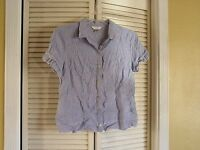 Christopher & Banks Blue White Pinstripe Button Front Shirt Blouse Top Women's L