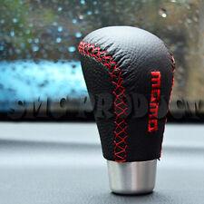 Black/Red Universal 5 6 Speed Manual Stitch Leather Shift Knob Car Gear Stick VW