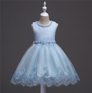 Elegant Wedding Princess Girls Dress Flower Girl Tutu Lace Party Kids Clothes