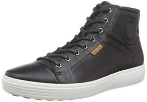 Men's ECCO Soft 7 High Top Fashion Sneaker Black Leather Size 13 M Brand New