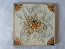 STUNNING & UNUSUAL MAJOLICA FLORAL DESIGN ENGLISH VICTORIAN 6 INCH TILE. 2 AVAIL