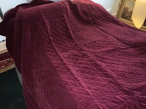 "VELVET FULL/QUEEN  QUILT/ THROW 86"" x 90"". Burgundy Velvet (pottery barn?)"