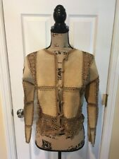 Scully Suede Leather & Crochet Patchwork Long Sleeve Top Shirt Blouse Jacket 6