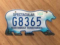2011 Northwest Territories government license plate G8365 Canada NWT exempt 2012