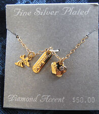 New Fine Silver Plated Diamond Accent Necklace - Gold color