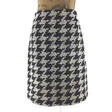 Talbots White Black 4 Small Skirt Wool Bl Woven Dot Texture Straight Office LN