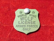 WORLD WIDE WOLF LICENSE ARMED FORCES ONLY  Pendant