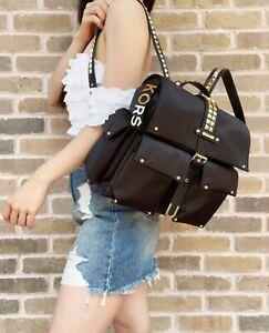 Michael Kors Olivia Medium Studded Satin Nylon Backpack Black Gold Light Weight