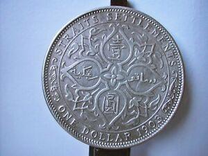 STRAIT SETTLEMENTS scarce silver Trade Dollar 1903 B aUNC detail ex mounted
