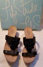 Life Stride Notice Black F Leather Floral Open Peep Toe Wedge Heel Sandal Shoe 9