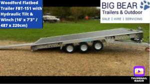 Woodford Flatbed Trailer FBT-151 with Hydraulic Tilt & Winch 16'x7'3 / 487x220cm