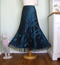 PER UNA/M&S SHINY SATIN & NET GYPSY BOHO EVENING SKIRT SZ 12 FLORAL/BALL/SEQUINS