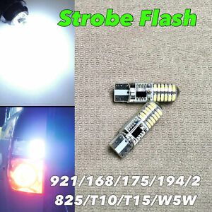 STROBE Reverse Backup Light T10 T15 921 175 194 168 White CANBUS LED W1 J