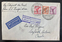 1932 Germany Europa Catapult First Flight Airmail Cover To Slaforth Canada