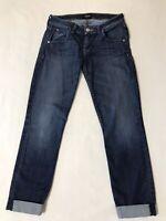 HUDSON Women's SZ 27 BACARA CROP Straight Cuffed Jeans Dark Wash Stretch